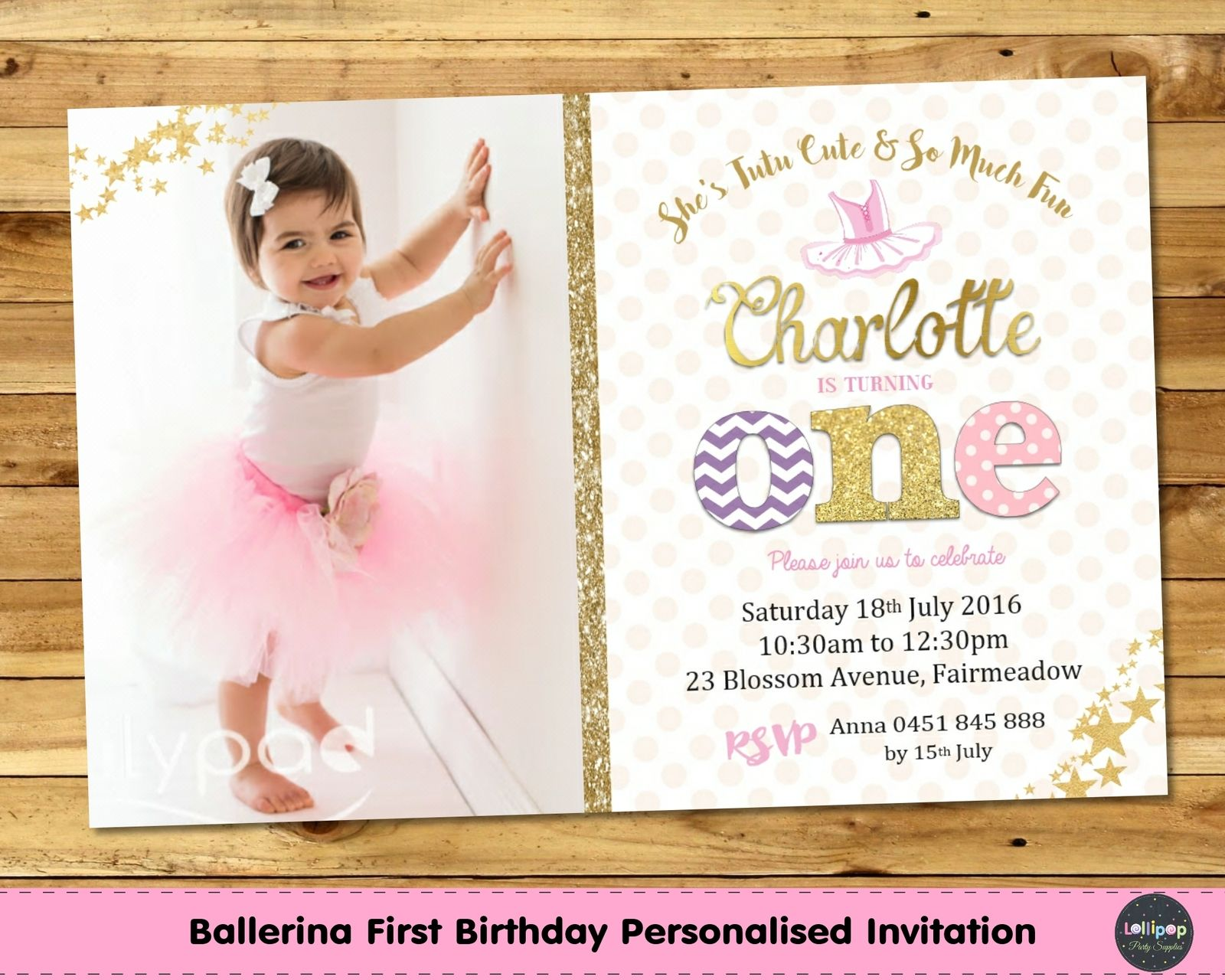 Tutu Cute 1st Birthday Pink and Gold Personalised Invitation ...