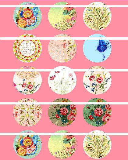 20mm Digital Bottle cap Digital Art Cameo Print Collage Work - Flower Pattern. , via Etsy.