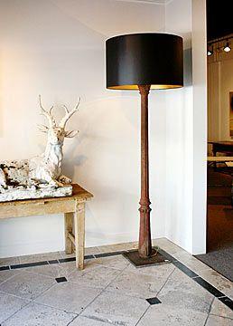 Cast Iron Columns (circa 1880) Floor Lamp With Custom Made Shade