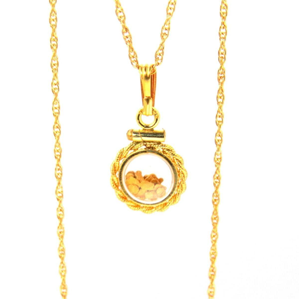 Gold Nugget Bubble Locket Pendant Necklace  #jewelerylovers