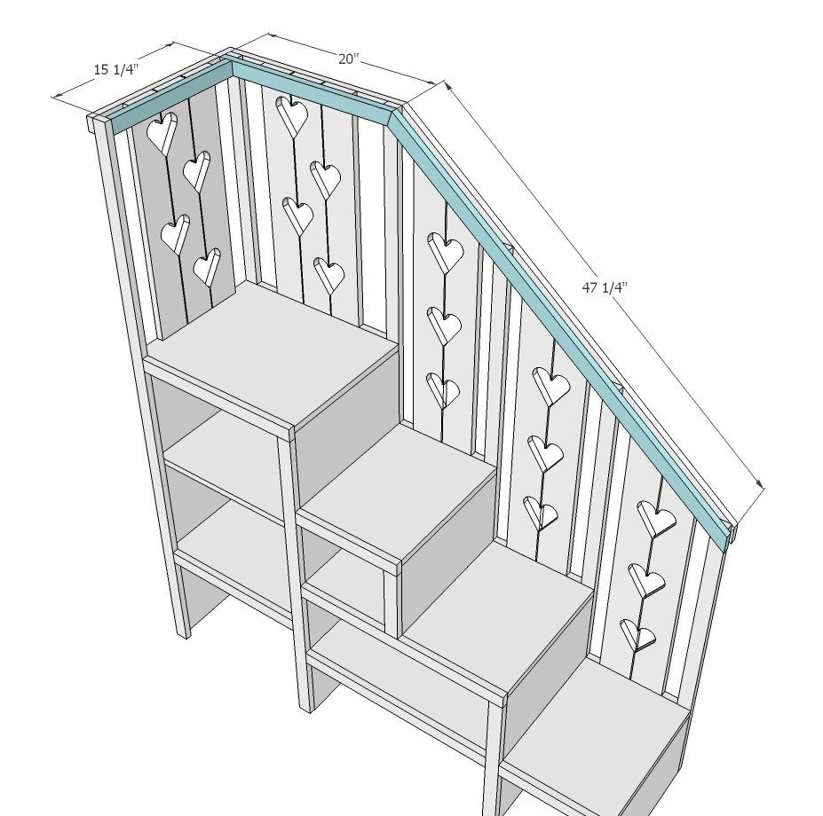 Loft bed with stairs diy  Ana White  Build a Sweet Pea Garden Bunk Bed Storage Stairs  Free