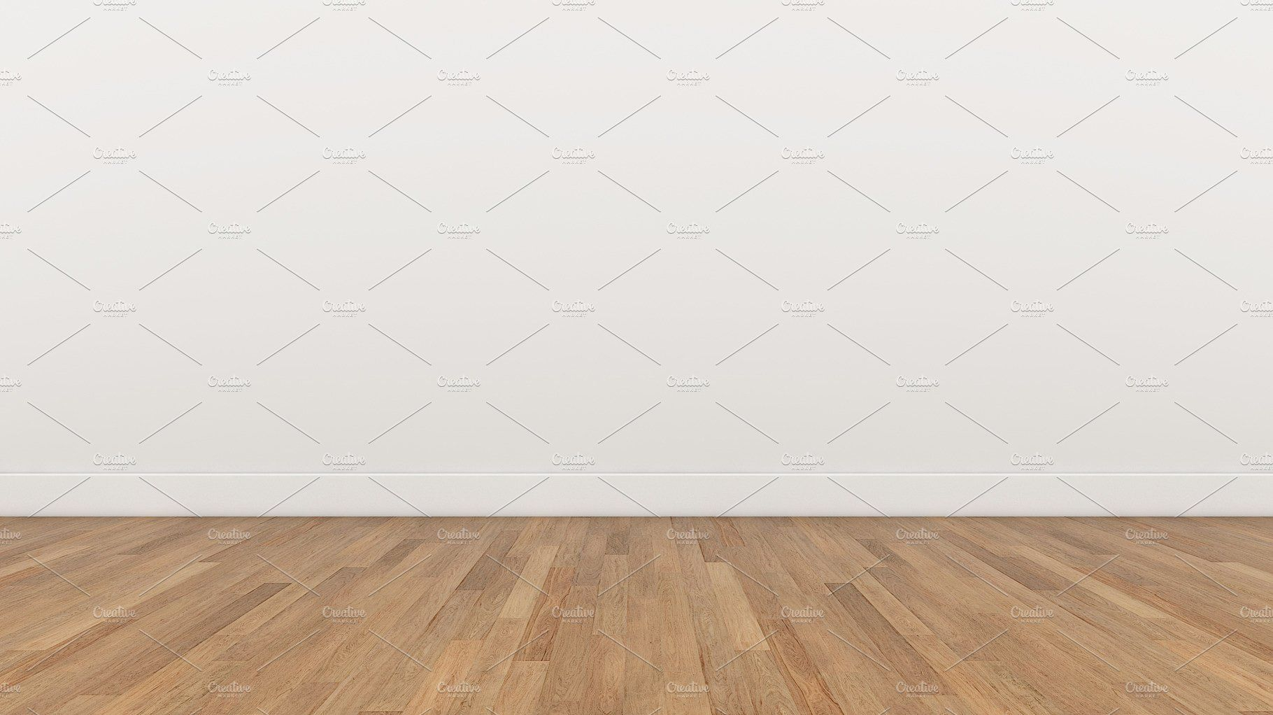 Empty Room White wall and wood brown floor, 3d render ...