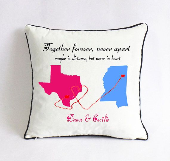 Long Distance Couple Pillow-couple Go Away Gift-state Gift
