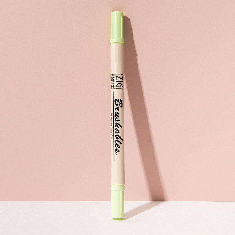 Dual Colour Japanese Brush Pen In Cucumber Brush Lettering Pen