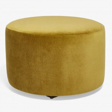 Highline Mustard Rounded Ottoman Modern Furniture Decor Round