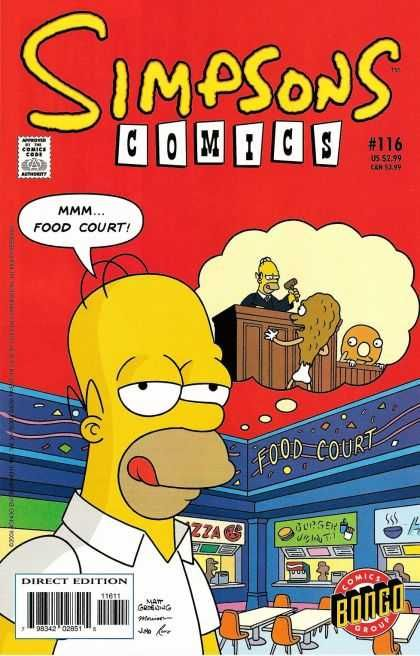 5f340f59501d9 Simpsons Comics 116 - Comics Code Authority - Speech Bubble - Homer - Food  Court - Chicken Drumstick - Bill Morrison