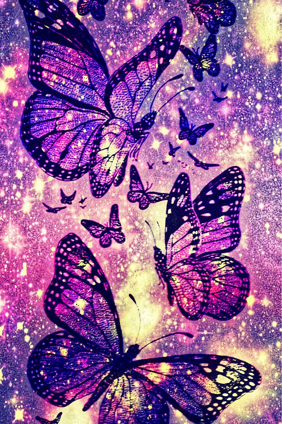 Glow Burst Butterflies Galaxy Wallpaper
