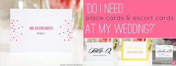 Escort cards are a yes, but place cards are a no.  I don't need the seating to be specific.  Immediate family will be escorted to the reception first anyway, so they'll be able to sit together no problem.  But I do want table assignments to make sure they get good seats, etc.  Do I Need Place Cards and Escort Cards at My Wedding? - Ask Emmaline (via EmmalineBride.com)