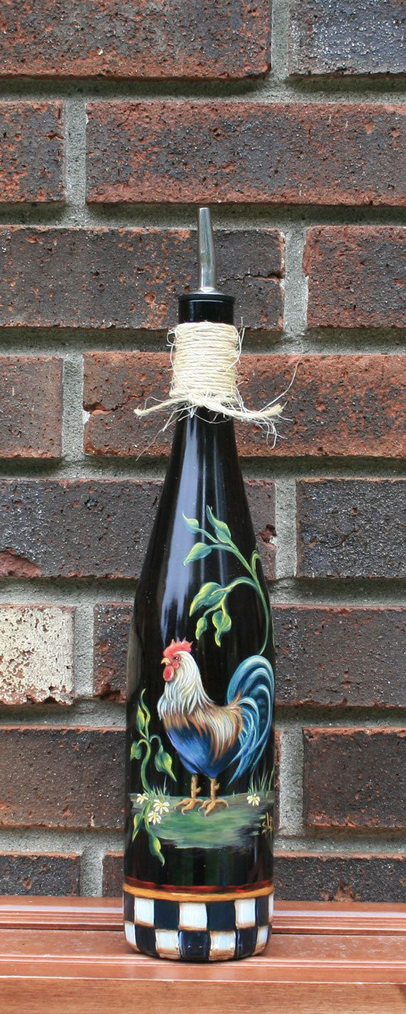 Olive Oil Dispenser with Handpainted Rooster by JCandmeArt on Etsy