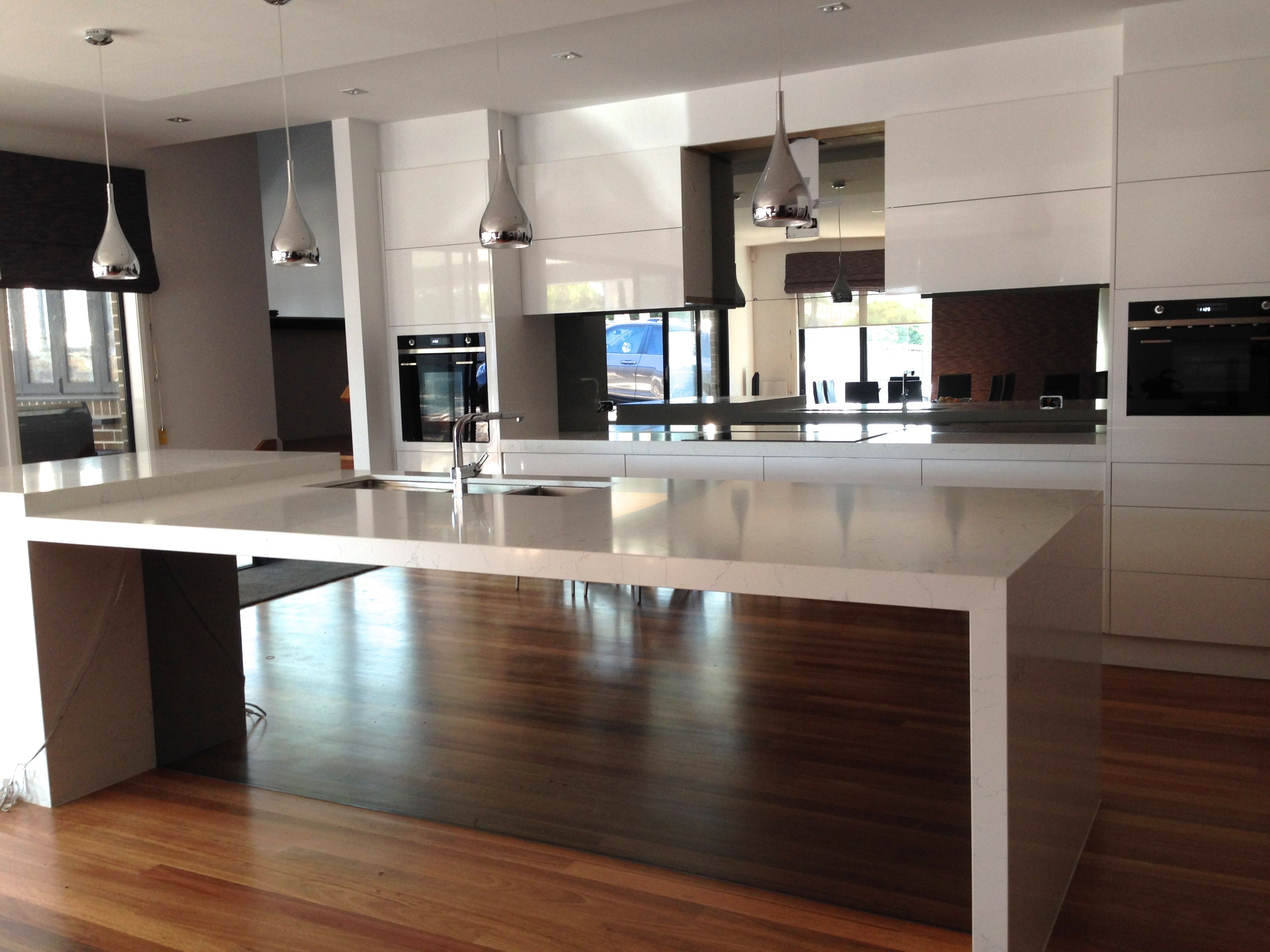 Grey Ash Mirror Splashback | Kitchen, Coloured glass ...