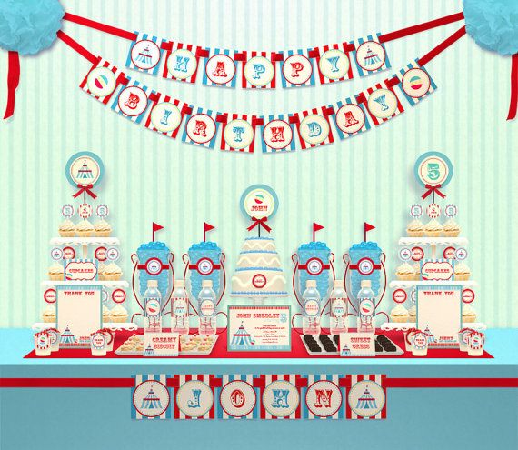 Blue Carnival Circus Birthday Party Package by leelaaloo on Etsy, $35.00