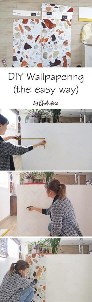 How To Wallpaper The Easy Way Ohoh Deco In 2020 How To Apply Wallpaper Diy Window Treatments Diy Porch Decor