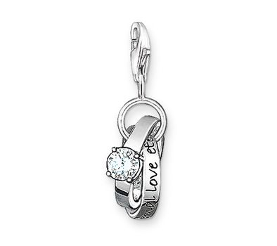 Thomas Sabo Silver And Zirconia Wedding Rings Charm 0673 051 14 48 95