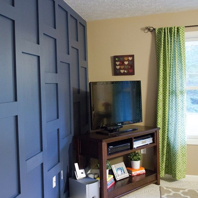 Navy Blue Accent Wall With Unique Rectangle And Scare