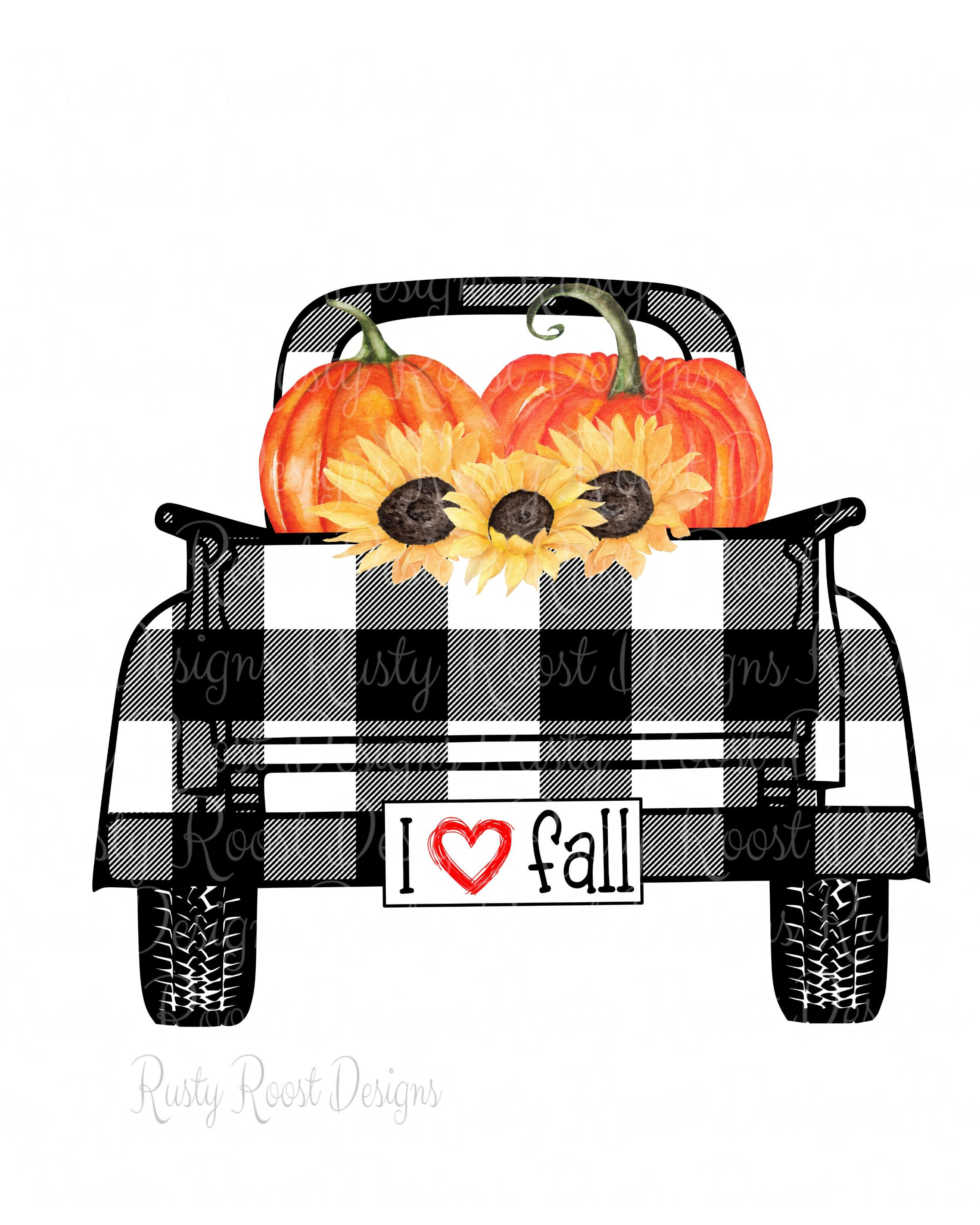 I love fall png,plaid truck,sublimation design download ...