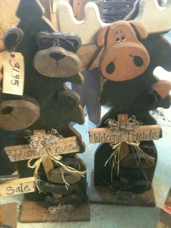 Wood bear moose with tree crafts christmas pinterest