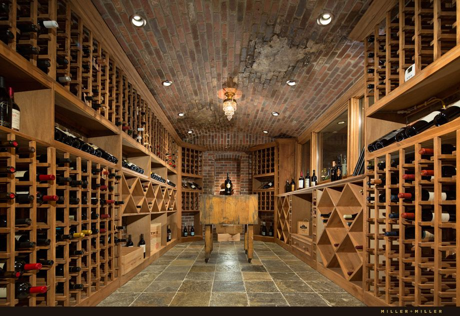 European Style Brick Wine Cellar Stores Up To 800 Bottles Old World Design With Slate Floor And