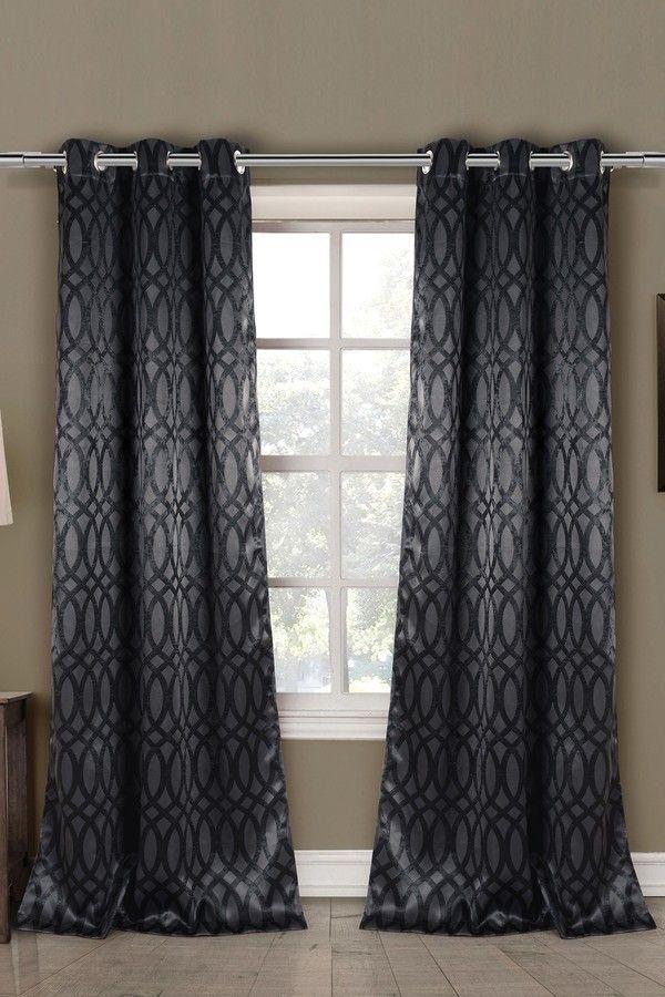 DUCK RIVER Tayla-D Blackout Grommet Panel Curtains - Set of 2 - Black