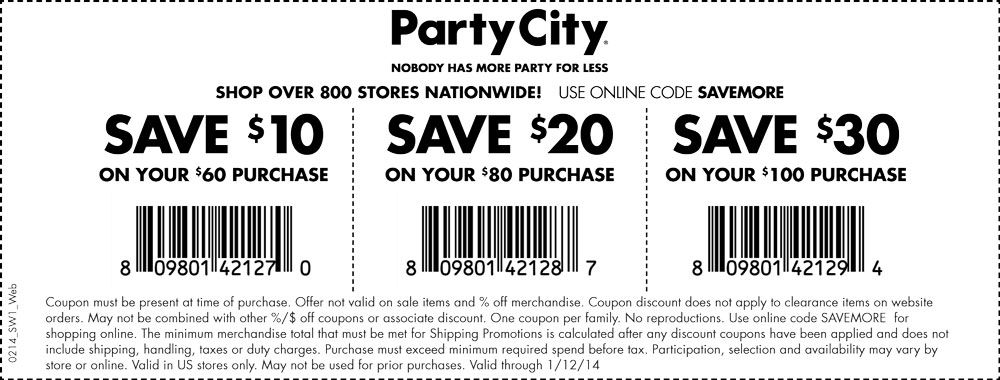 Pinned January 10th 10 Off 60 And More At Party City Or Online Via Promo Code Savemore Coupon Via The Coupons App Party Stores Printable Coupons Print Coupons