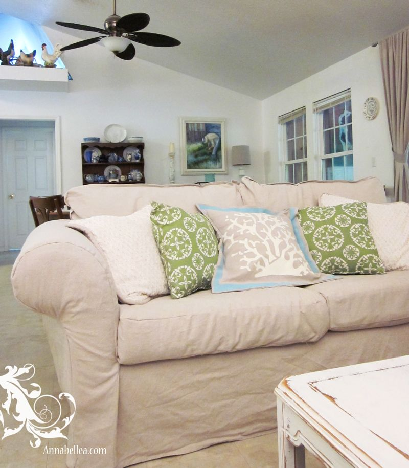 Diy drop cloth slipcover for couch ok Mom this is our next