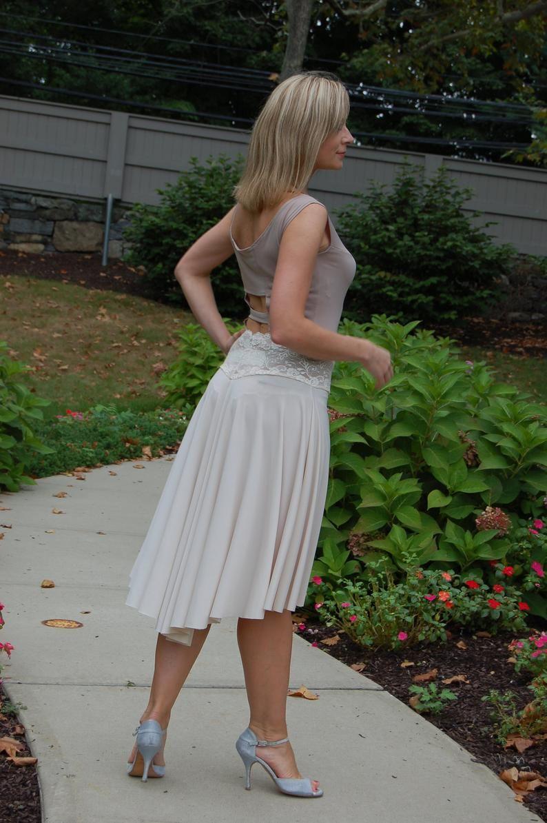 Elegant Asymmetric Satin Tango Skirt