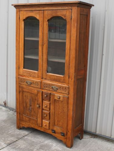1890s In Old Sears Catalog Oak Flat Wall China Cabinet W Potato E Drawers