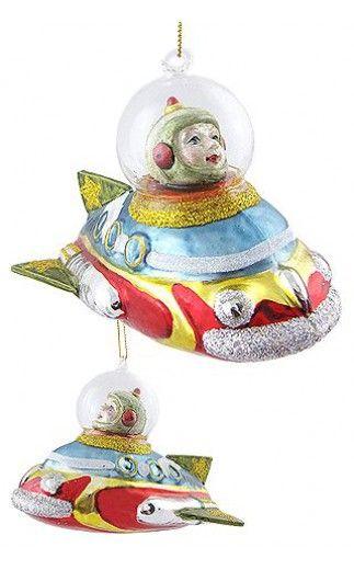 Space Cadet Racer Ornament 2011 | Space Race & Rockets | TinToyArcade  |844828018836 - Christmas Rocket Boy Ornament Glass Spaceship Xmas Tree For James