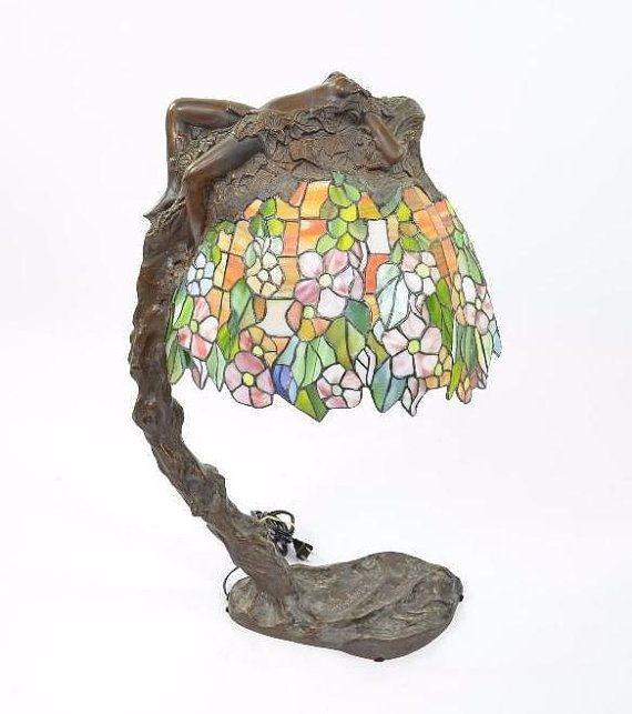 Bronze and Stained Glass Tiffany Style Daphne Lamp by E. Thomasson ...