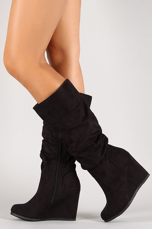 Slouchy Suede Mid Calf Wedge Boot Boots Slouchy Boots