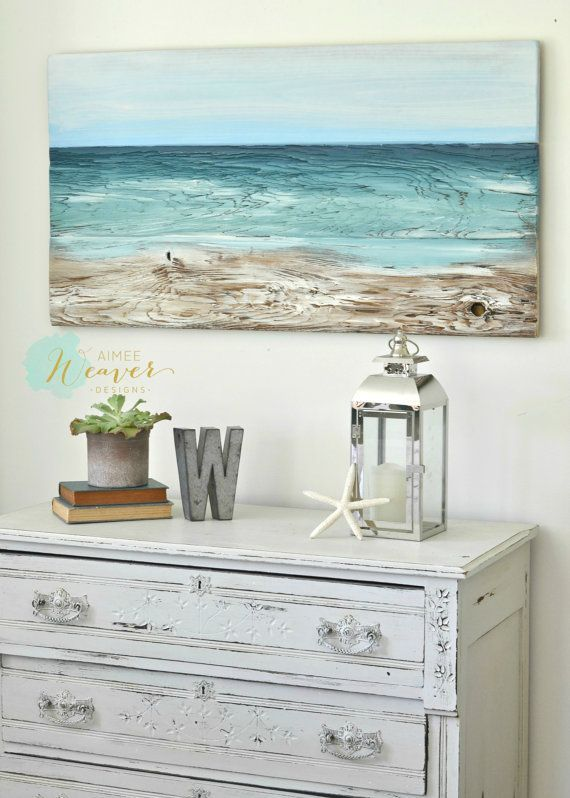 Beach painting on wood nautical decor, ocean painting beach artwork, reclaimed wood beach house art, housewarming gift, coastal seascape