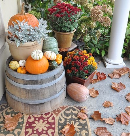 Outdoor decorating for fall.
