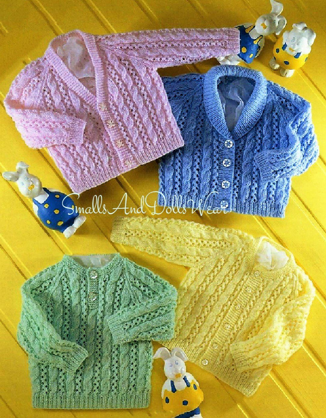 Vintage Knitting Pattern Baby Cable and Lace Cardigans ...