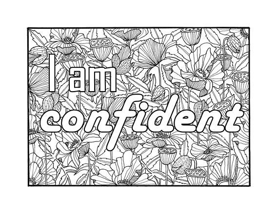 i am confident self affirmation adult coloring page - Digital Coloring Book