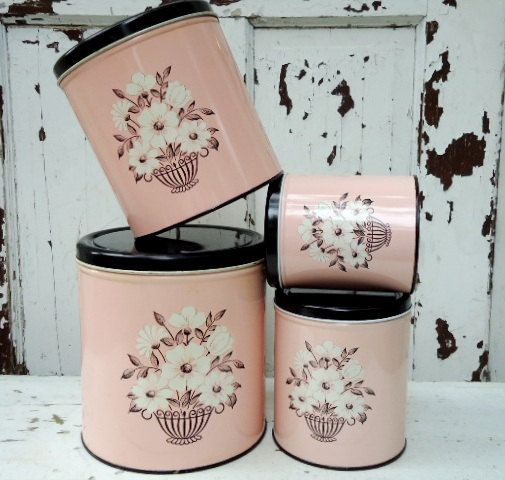 Absolutely charming vintage 1950s pink metal canisters. #vintage #pink #1950s #fifties #canisters #shabby #chic #kitchen #home #decor #storage