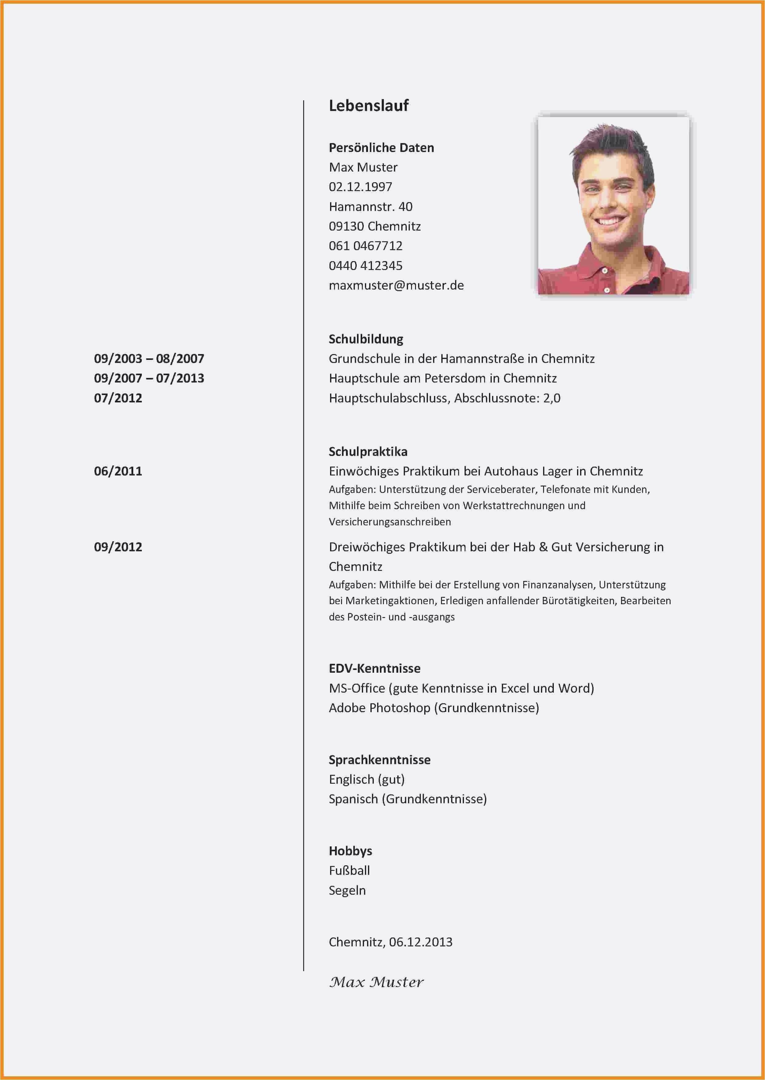 Frisch Der Perfekte Lebenslauf 2015 Briefprobe