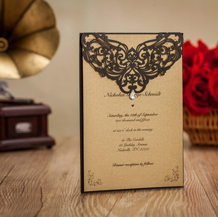 High End Elegant Wedding Invitations: Hawaiian #Wedding Invitations# Black Rhinestone Laser Cut