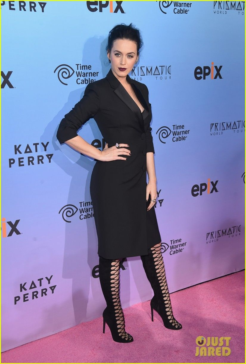 katy perry prismatic tour screening 02 Katy Perry rocks a serious pair of lace-up heels while attending a screening of her upcoming special Katy Perry: The Prismatic World Tour held at The Theatre at…