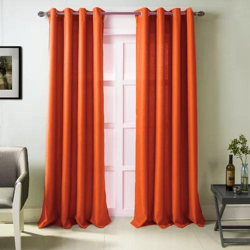 Bay Isle Home Stanek Textured Solid Semi Sheer Grommet Single Curtain Panel Reviews Wayfair Orange Curtains Living Room Orange Curtains Curtains