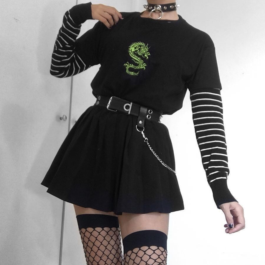 Blvck Pl Aesthetic Grunge On Instagram 1 2 3 Or 4 Which Look Would You Wear Shein Outfits Alternative Outfits Black Skirt Outfits