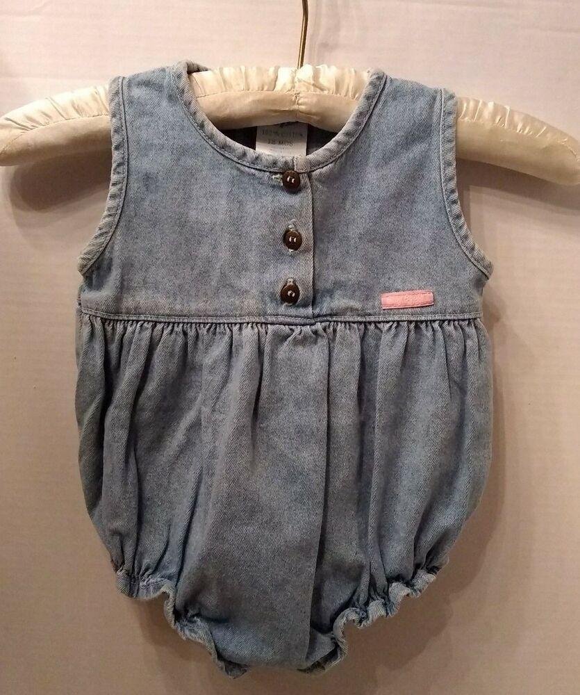84ac2f2a6 Vtg USA Baby Oshkosh B'Gosh Blue Denim Jean Bubble Romper Girls 18 MO  #OshKoshBgosh #Everyday