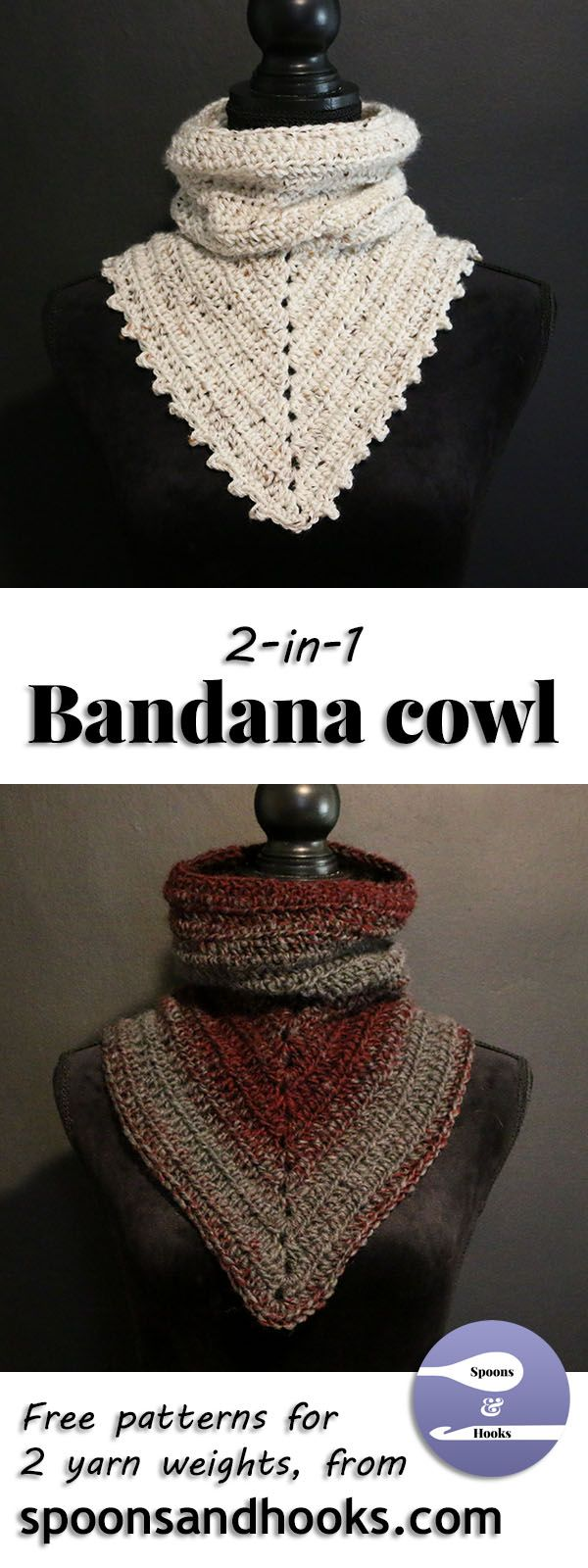 Free crochet pattern: Two-in-one bandana cowl | Schal häkeln ...