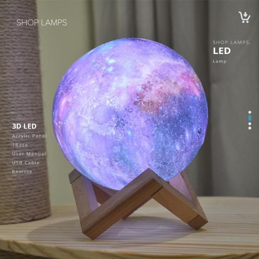 Dropship New Arrival 3d Print Star Moon Lamp Colorful Change Touch Home Decor Creative Gift Usb Led Galaxy Decor Galaxy Bedroom Moon Light Lamp