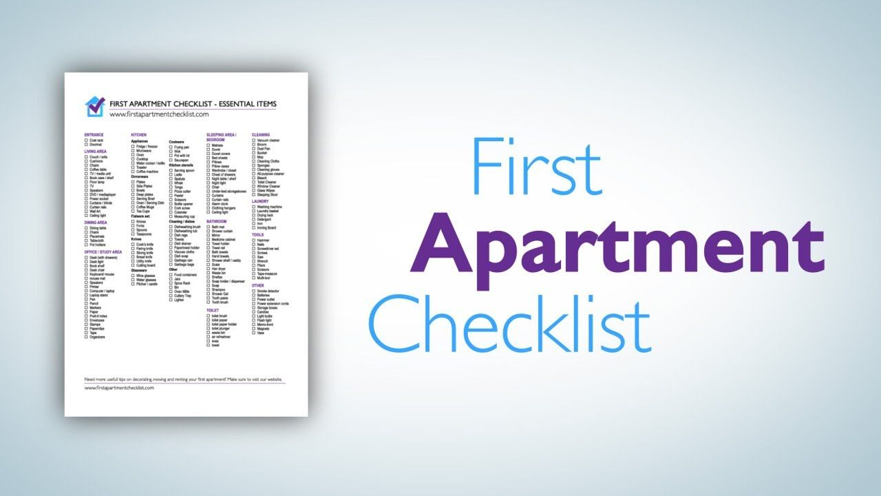 First Apartment Checklist A Printable Pdf