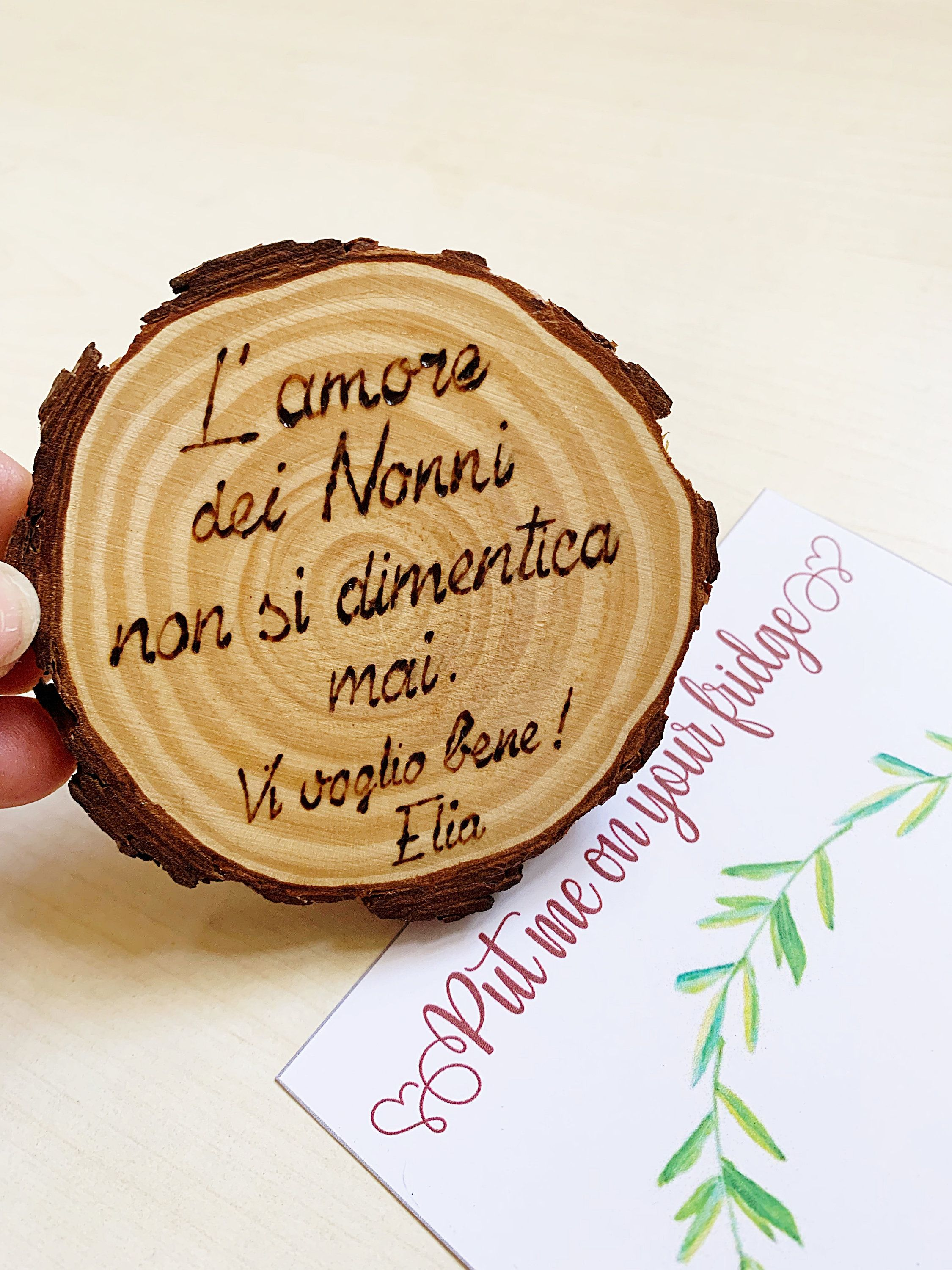 Grandparents Day Magnet, Wood Slice Card Gift, Unique Grandparent Gift, Personalized Magnet Gift, Wood Slice magnet