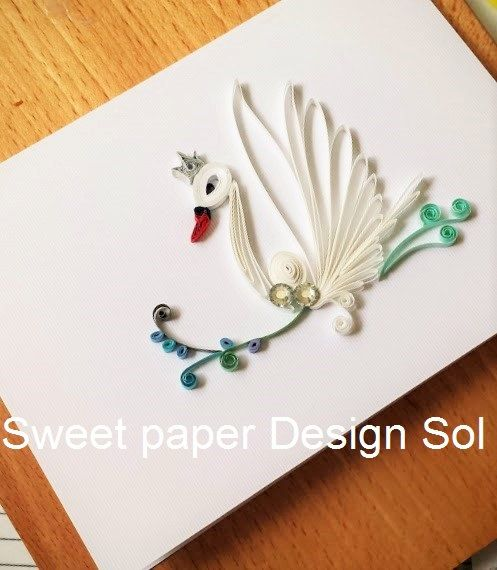 Paper Quilling Swan Card for Birthday by SweetPaperDesignSol