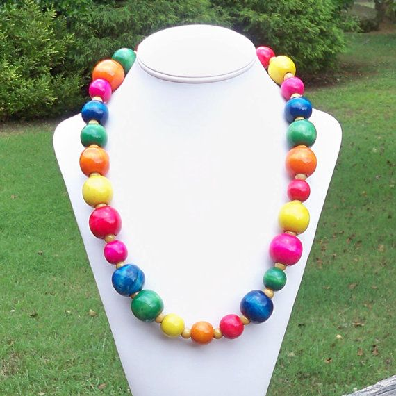 Lizzie  Long and Chunky Rainbow Colorful Wooden Beaded by Tessyla, $58.50