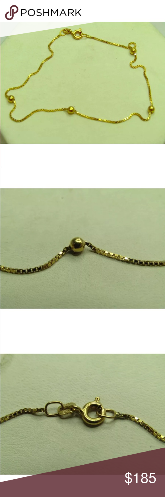 bracelet karat yellow elle jewels gold by ankle link bracelets product anklet cuban chain