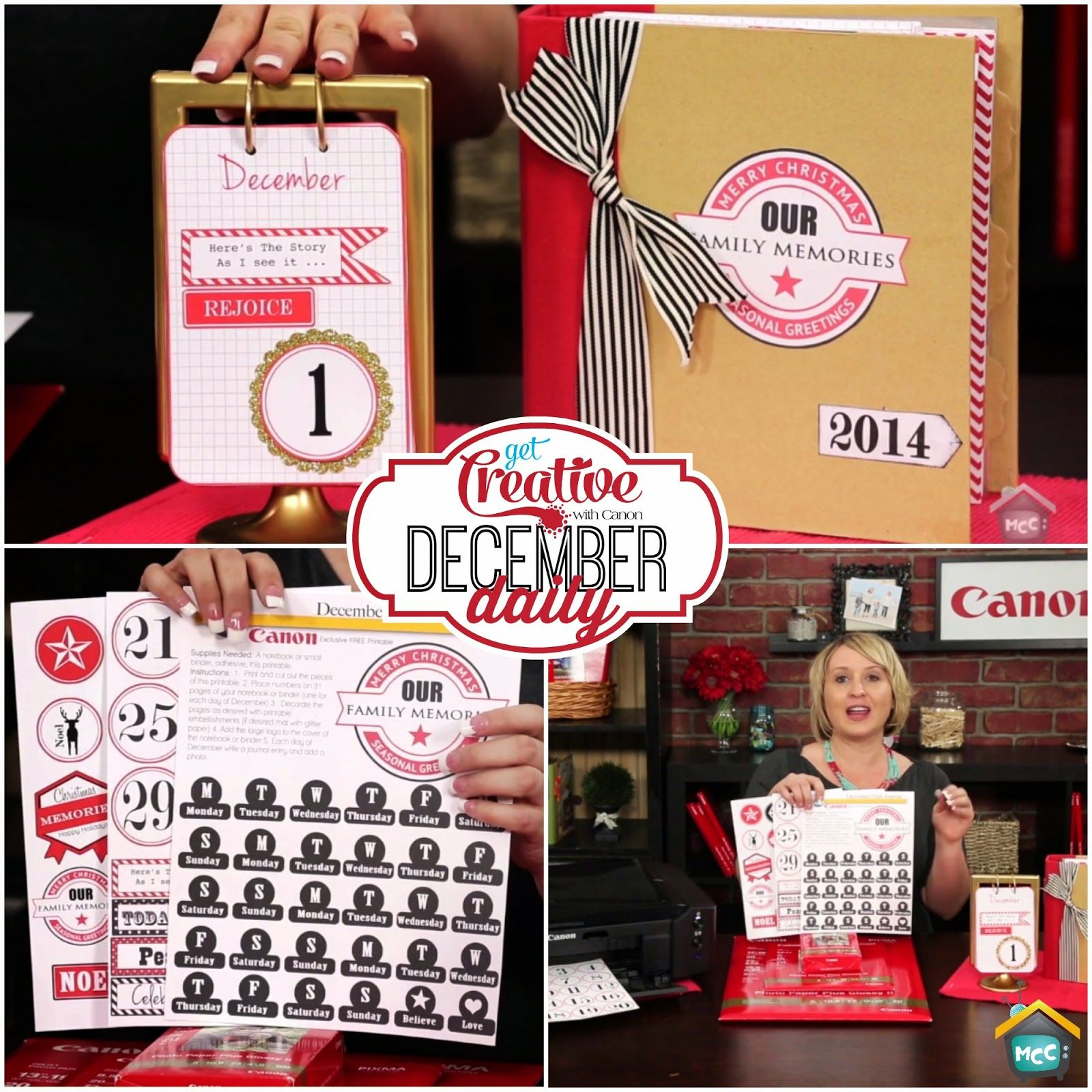 My Craft Channel: Nov. 18th: Canon's December Daily, Free Printable and December Daily Project Kit Featured Buy