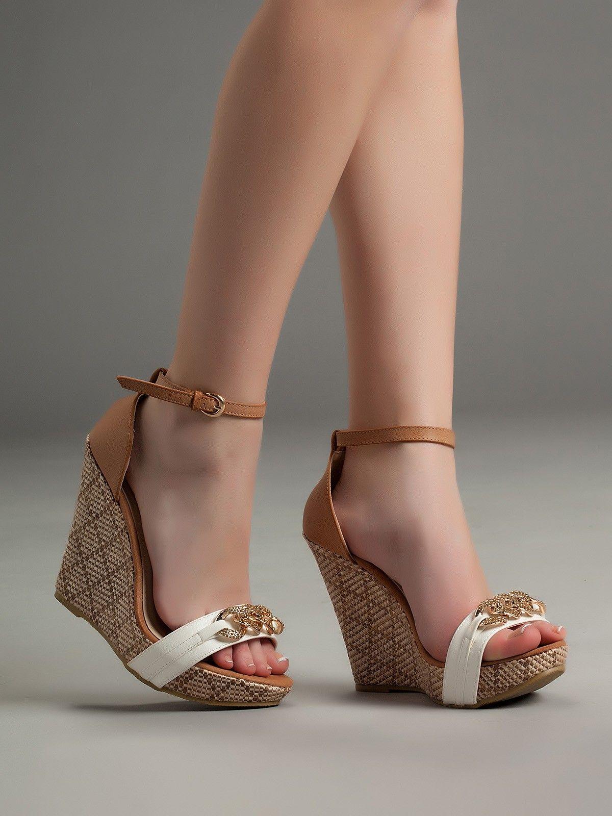 Mujer Zapatos Cuero Verano Gladiador Sandalias Media plataforma Beige / Verde claro Real Vente Pas Cher 5wFis