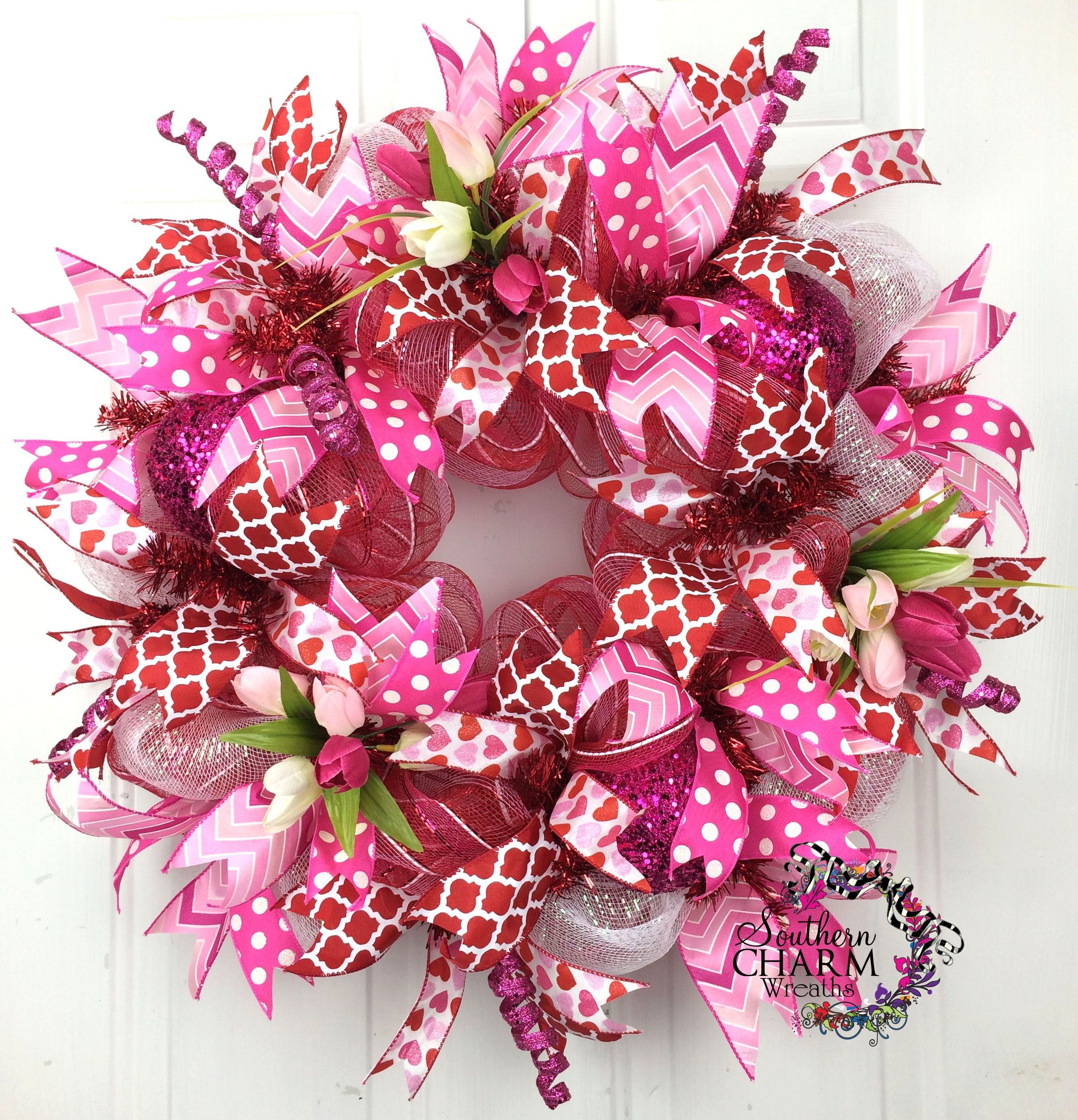 Deco Mesh Valentines Wreath In Hot Pink And Red With Tulips Door